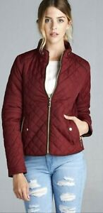 New Quilted Padding Burgundy Women's Coat Jacket Size Small