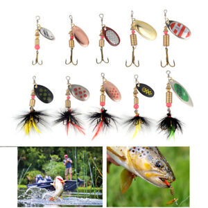 10Pcs Spinner Crankbait Rooster Tail Bass Trout Fishing Lure Lot Gear Tackle Box