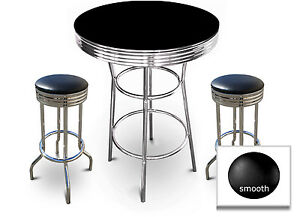 Black Bar Table Set Retro Style Chrome with 29quot; Tall Backless Swivel Seat Stools
