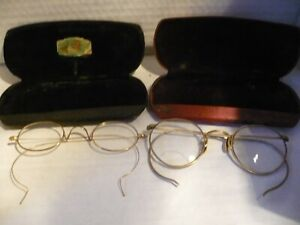 2 Pairs LOT Antique Round Gold Filled Eye Glasses w Old Cases $45.00