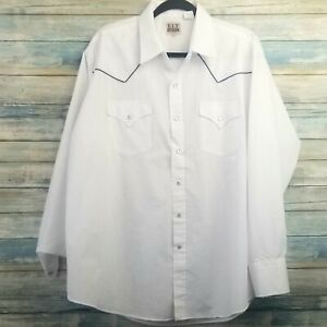 Ely Cattleman Mens Western Shirt XL White Pearl Snap Casual Front Button Down $24.48