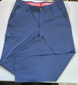 UNDER ARMOUR Golf Pants Mens 36x32 Dark blue Stretch Athletic 36 32 PGA loose $25.00