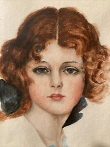 Antique Original Watercolor Portray Young Girl Oval Frame Signed Pickard 1900 20 $40.00