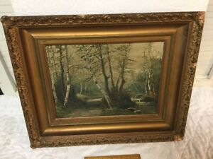 Antique Oil Painting D A Fisher 1904 Landscape In the Original Gilt Gesso Frame $115.00