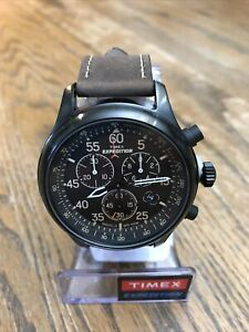 Timex Mens Expedition Field Chronograph Watch W Brown Leather Strap T49905 New $44.99