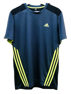 Adidas Mens Climacool Dry Fit Shirt Sz Medium Blue Black Neon Athletic Running $14.95