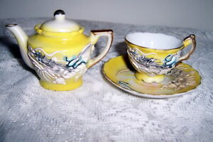 Vintage Yellow Dragonware Miniature Teapot Cup and Saucer Japan