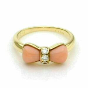 Van Cleef Arpels Coral Diamond 18k Yellow Gold Bow Design Ring w Paper. $2988.51