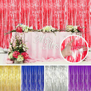 Metallic Foil Fringe Curtain Tinsel Photo Backdrop Party Birthday Door Decor US