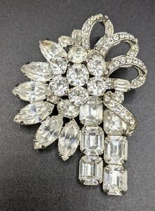 Gorgeous Vintage Signed Eisenberg Clear Rhinestone Pin Brooch Layered 3 D $64.44