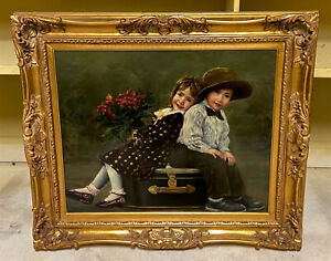 Original Signed Oil on Canvas Painting Portrait Young Children O. Tanner $850.00