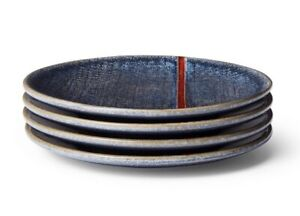 Levi's X Target set of 4 Red Stripe Stoneware Appetizer Plate Set Blue NEW $39.99