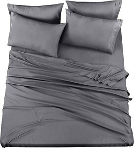 6 Piece Bed Sheet Set With Embroidered Pillow Cases King Queen Utopia Bedding