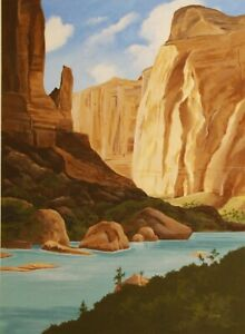 ORIGINAL PAINTING OF THE COLORADO RIVER amp; THE GRAND CANYON ARIZONA $145.00