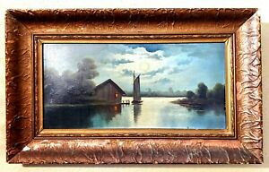 Antique Oil Painting Night Landscape Sailboat On Lake Or Swamp $150.00