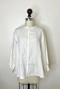 Eileen Fisher White Boxy Button Down Top Shirt M long sleeve Lagenlook $29.99
