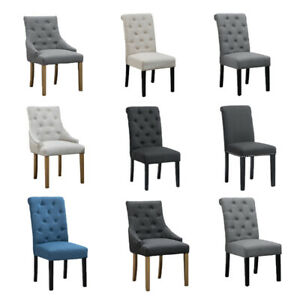 2 4 6 Dining Chairs Tufted High Back Fabric Padded Dining Room Kitchen Furniture