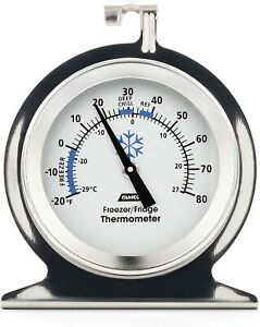 Camco RV Durable Stainless Steel Refrigerator Freezer Thermometer 42114 NEW