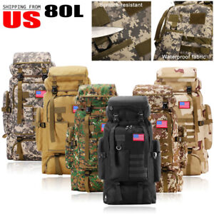 80L Large Outdoor Tactical Military Backpack Rucksack Travel Camping Hiking Bag $30.99