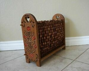 Vintage Rustic Retro Solid Wood Brown Fabric Magazine Sewing Rack handpainted $16.00