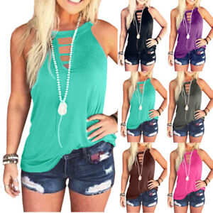 Womens Summer Hollow Loose Sleeveless T Shirt Casual Crew Neck Solid Tops Blouse $13.32