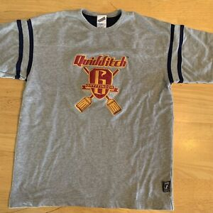 Rare '00 Size M Harry Potter Gryffindor Gray Quidditch Jersey Style Shirt $34.99
