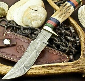 CUSTOM HANDMADE DAMASCUS 5.5quot; Blade BOWIE HUNTING 10quot; Knife w Stag Handle 4077
