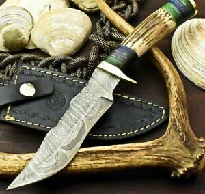 CUSTOM HANDMADE DAMASCUS 5.5quot; Blade BOWIE HUNTING 10quot; Knife w Stag Handle 3946