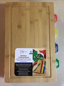 Mainstays Bamboo Cutting Board With Flexible Cutting Mats 5pc New Sealed