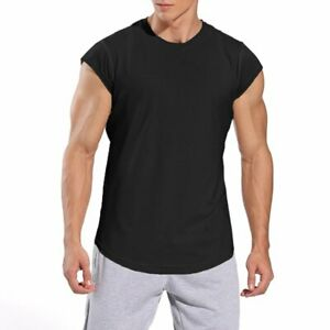 Mens Running T Shirts Solid Color Short Sleeve O Neck Fitness Gym Exercise Tops $17.82