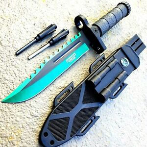 13 MILITARY TACTICAL Hunting FIXED BLADE SURVIVAL Knife Fire Starter SHARPENER $18.45