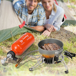 Outdoor Camping Fuel Oil Stove Hiking Picnic Bur ner Cookware w Gas Bottle H2N3