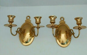Pair Of Traditional Style Brass Double Arm Candle Holder Wall Sconces $19.99