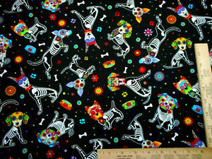 Quilt Fabric By The Yard Dogs Dog Skeleton Sugar Skull on Black Premium Cotton $8.99