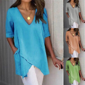 Women Summer Casual Half Sleeve T Shirt V Neck Tops Solid Blouse Loose Tunic $16.59