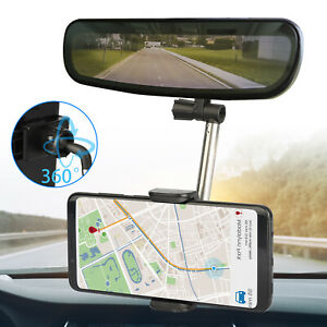 Universal 360° Car Rear View Mirror Mount Holder Stand Cradle For Cell Phone GPS $8.98