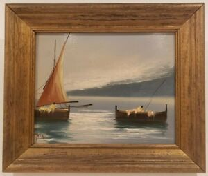 Oil Painting on Board Sailboat Seascape Signed Framed Art 11quot; x 13quot; $59.95