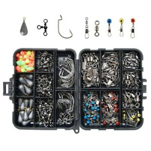 160PCS Pack Fishing Accessories Kit set with Tackle Box Pliers Jig Hooks Swivels
