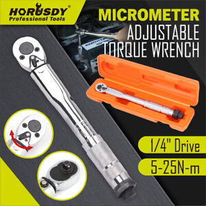 1 4 Drive Click Type Torque Wrench Ratcheting Snap Socket Reversible With Case $22.39