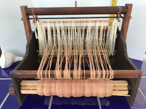 Vintage Wooden Table Weaving Warping Loom With Instruction Book