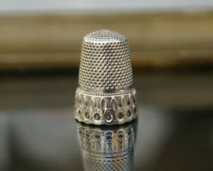 Antique Solid Silver Victorian French Sewing Thimble Finger Guard $49.00