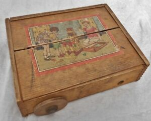 Antique Wooden Building Blocks in Wooden Dovetailed Box $17.49