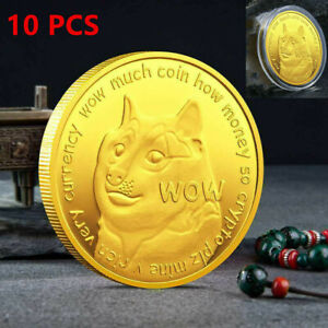 10PCS Dogecoin Commemorative Gold Plated Doge Coin Limited Edition Collectible $27.89