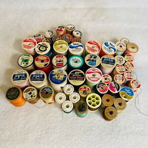 Lot of 53 Vintage Sewing Thread Spools Coats amp; Clarks Talon Star Lily Wooden $24.94