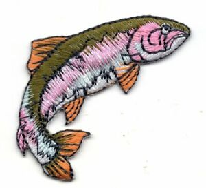 RAINBOW TROUT FISH Iron On Patch Fishing Freshwater
