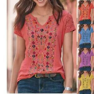 Women Summer Casual Short Sleeve T Shirt V Neck Tops Floral Loose Blouse Tunic $13.00