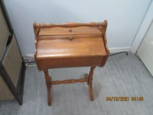 Sewing Box Stand Knitting Crafts Wooden Chest 21quot; Tall Vintage Double Door $32.50