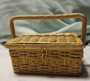 Vintage Antique Wicker Look Floral Red Sewing Box Basket 9x6x4 pin cushion $12.00