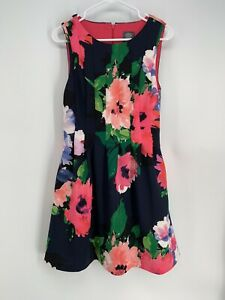Vince Camuto Womens Sz 10 Navy Pink Floral Scuba Knit Fit N Flare Skater Dress $23.00