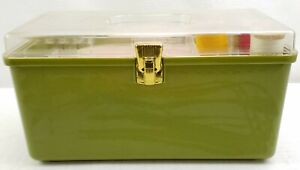 Vintage Wilson Wil Hold Green Plastic Sewing Box With Tray and Contents USA $43.89